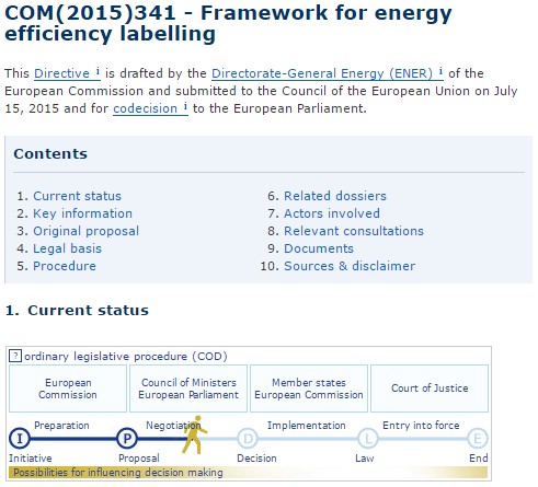 COM(2015)341 - Framework for energy efficiency labelling